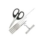 NGT Zestaw nierdzewny 6szt – 4 igieł zaciągacz i nożyczki plastikowe